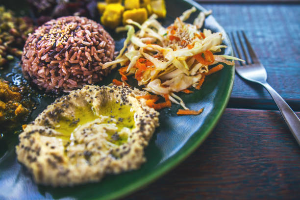 vegetarian thaliand poppadom on rustic surface stock photo