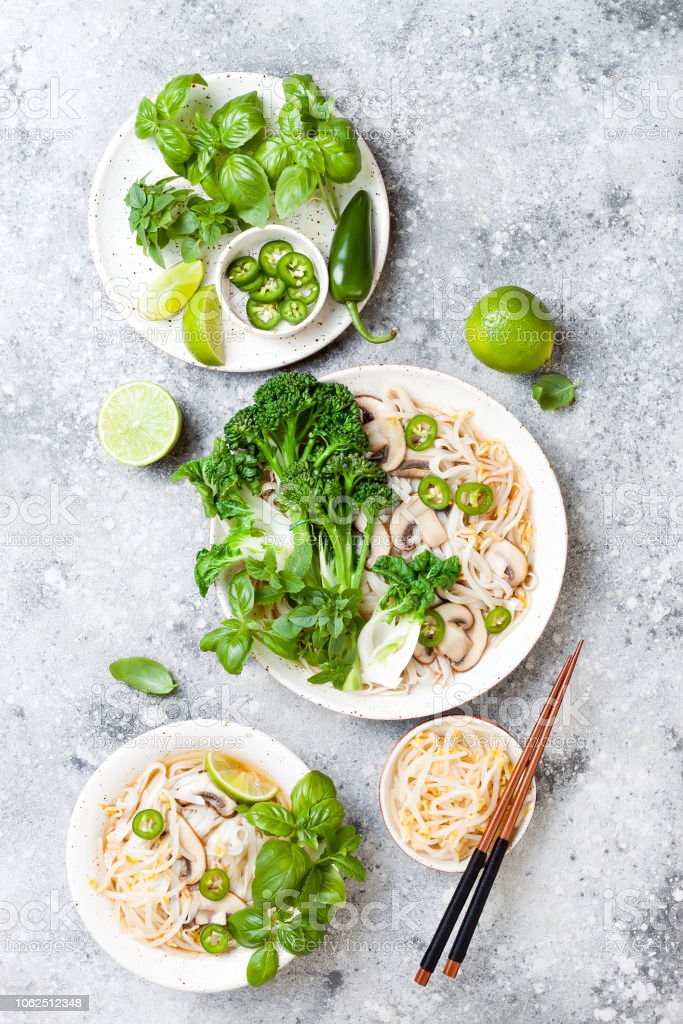 Vegetarian Traditional Vietnamese Soup Pho Bo With Herbs