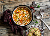 Vegetarian vegetable bean soup and parmesan cheese toasts