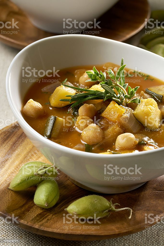 Vegetarian Vegetable soup with Chickpeas stock photo