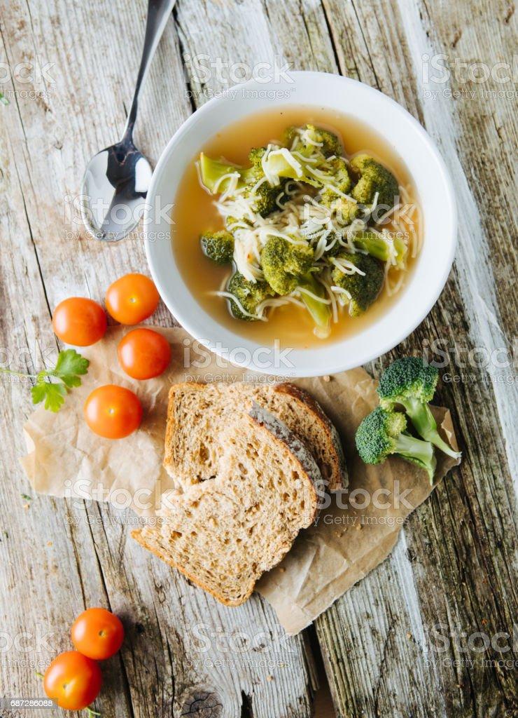 Vegeterian broccoli soup stock photo