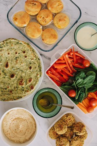 Vegeterian food served on a table
