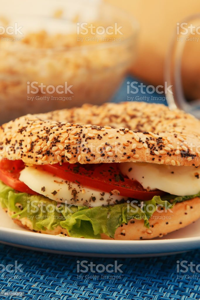 Vegeterian sandwich with sesame and poppy seed stock photo