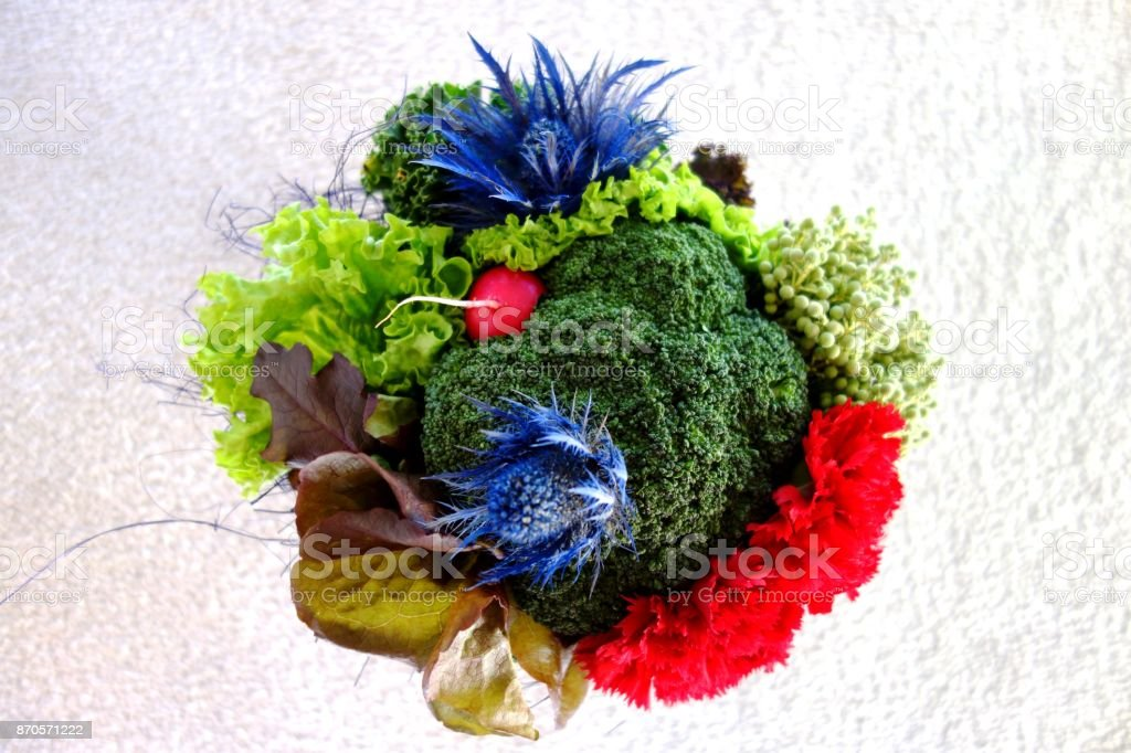 Veggie Bouquet - Flowers made from Vegetables stock photo