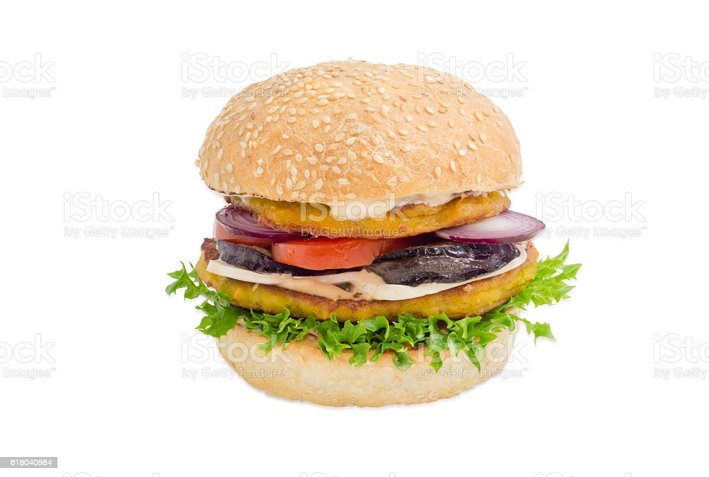 Veggie burger with vegetables patties on a light background stock photo