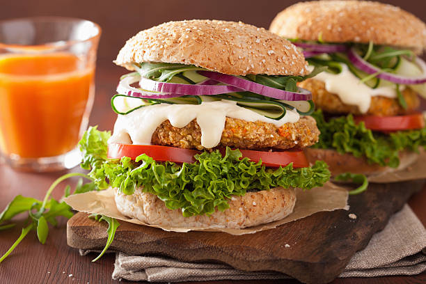 veggie carrot and oats burger with cucumber onion - onion juice stock photos and pictures