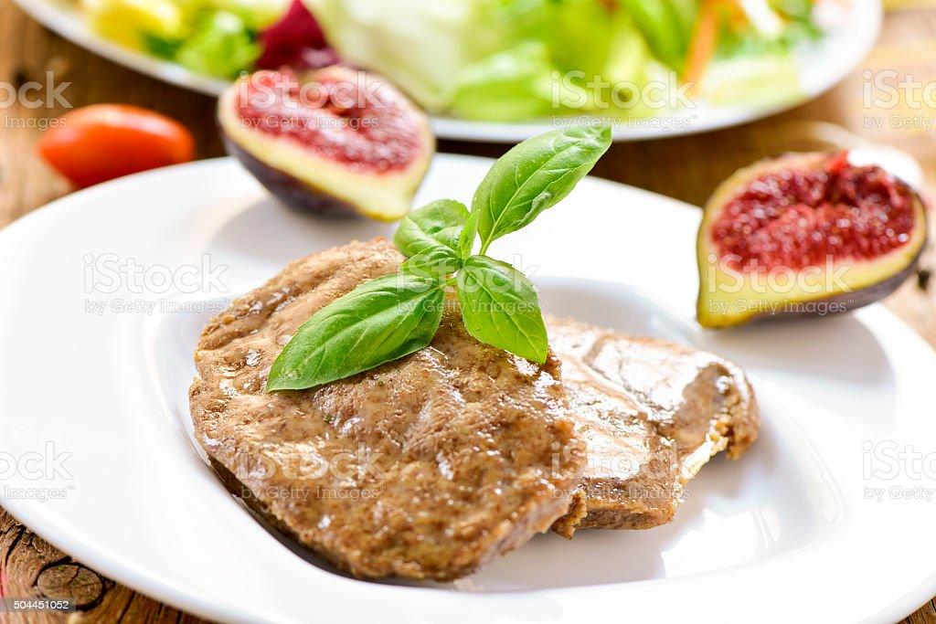 veggie cordon bleu and salad stock photo