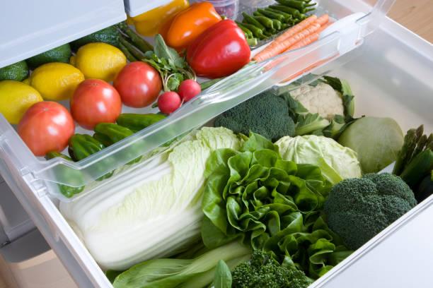 Veggie drawer in the fridge stock photo