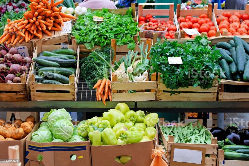 Veggie market stock photo