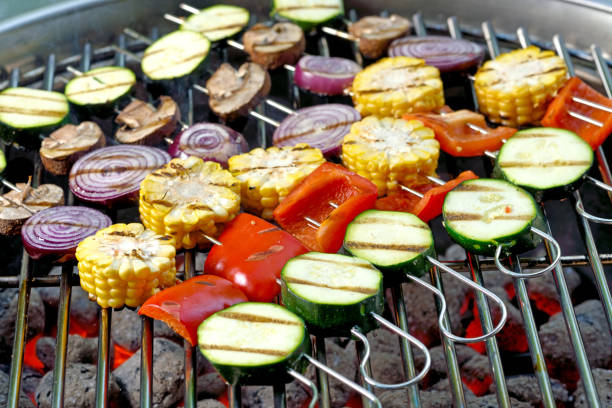 veggie skewers - grilled vegetables stock photos and pictures