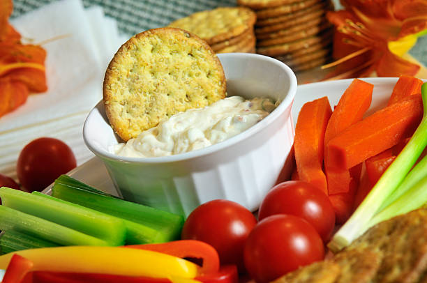 Veggies and Dip Party Spread stock photo