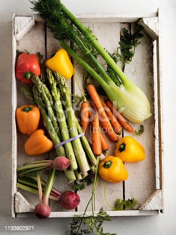 Vegetable, Basket, Box - Container, White Background,Freshness,Food, Healthy Eating, Supermarket