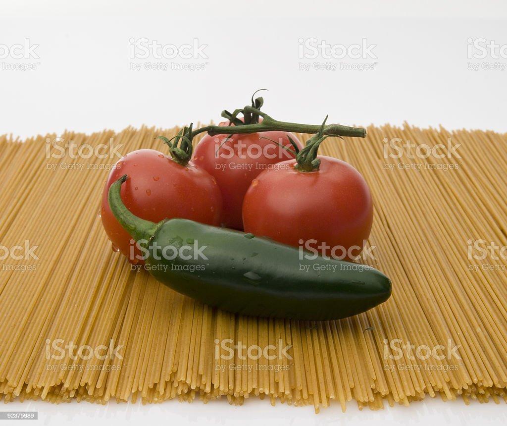 veggies on pasta royalty-free stock photo