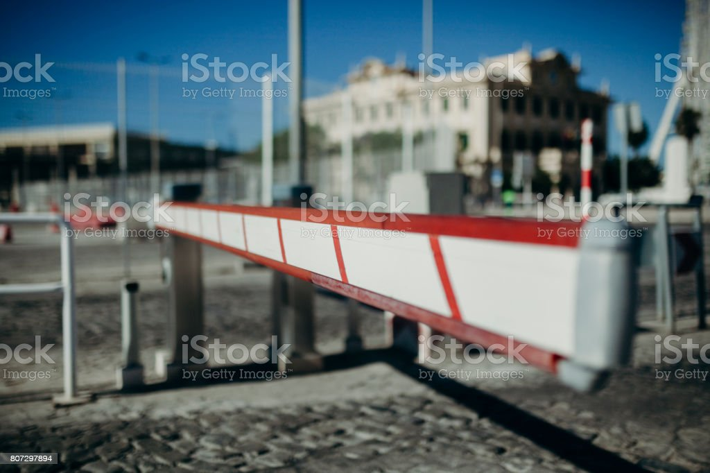 Vehicle access barrier. Urban background. stock photo