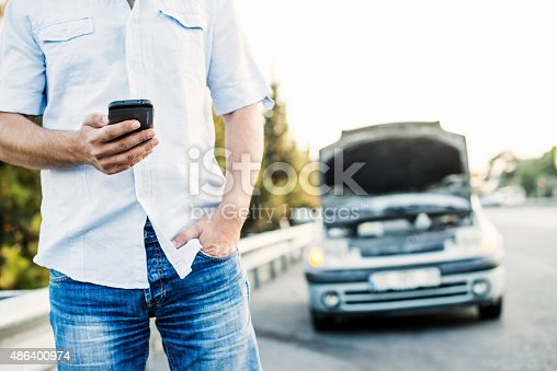 istock Vehicle Breakdown - Calling Roadside assistance 486400974