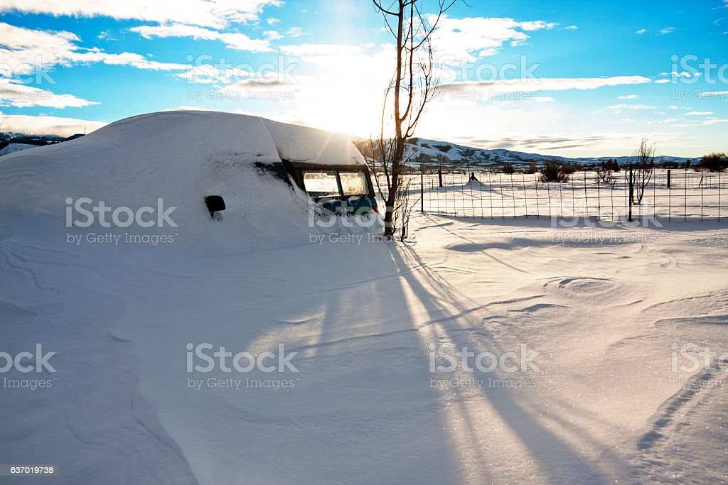 Vehicle Burried In The Snow stock photo