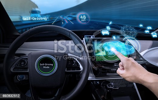 istock vehicle cockpit and screen, car electronics, automotive technology, autonomous car, abstract image visual 692832512