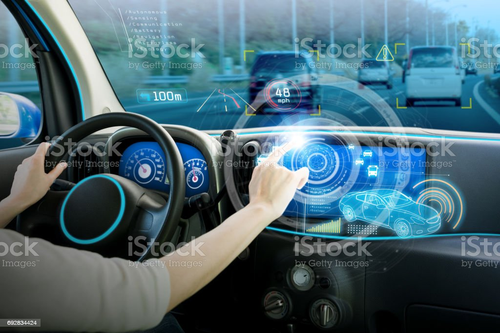 vehicle cockpit and screen, car electronics, automotive technology, autonomous car, abstract image visual stock photo