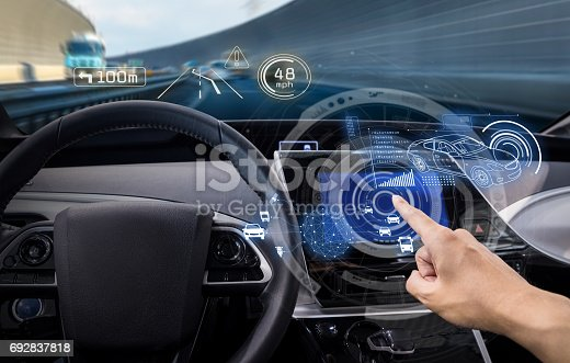 829192098 istock photo vehicle cockpit and screen, car electronics, automotive technology, autonomous car, abstract image visual 692837818