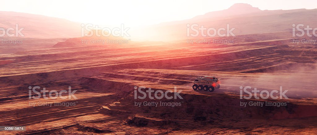 Vehicle driving on planetary surface Vehicle driving on planetary surface. Alien Stock Photo