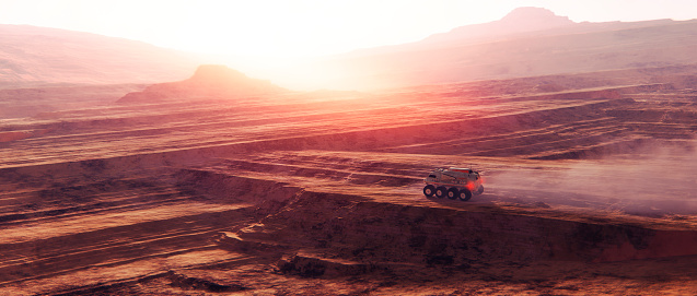 Vehicle Driving On Planetary Surface Stock Photo - Download Image Now