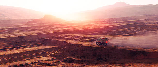 Vehicle driving on planetary surface Vehicle driving on planetary surface. rover stock pictures, royalty-free photos & images