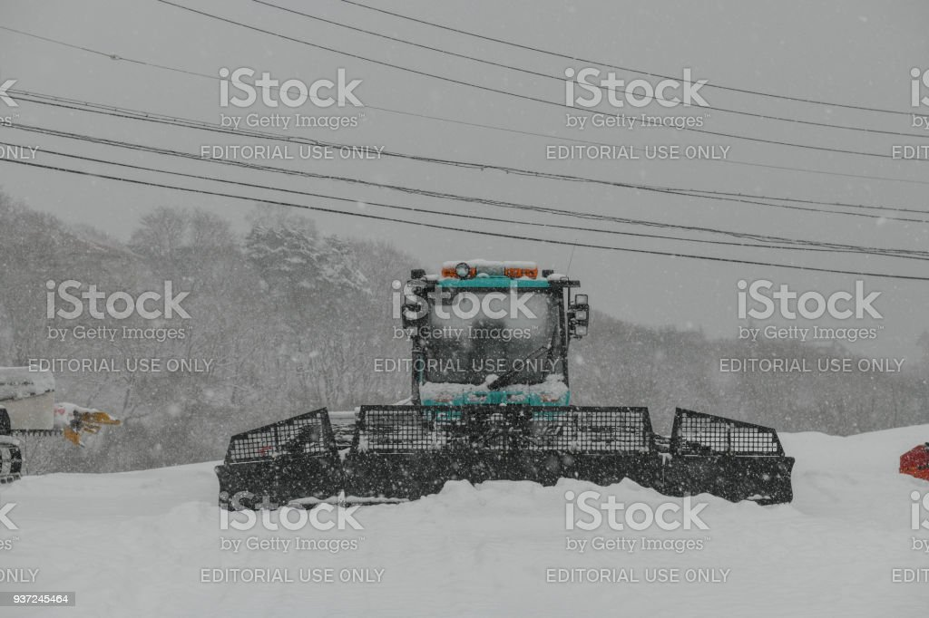 Vehicle handling snow in Madarao, Japan stock photo