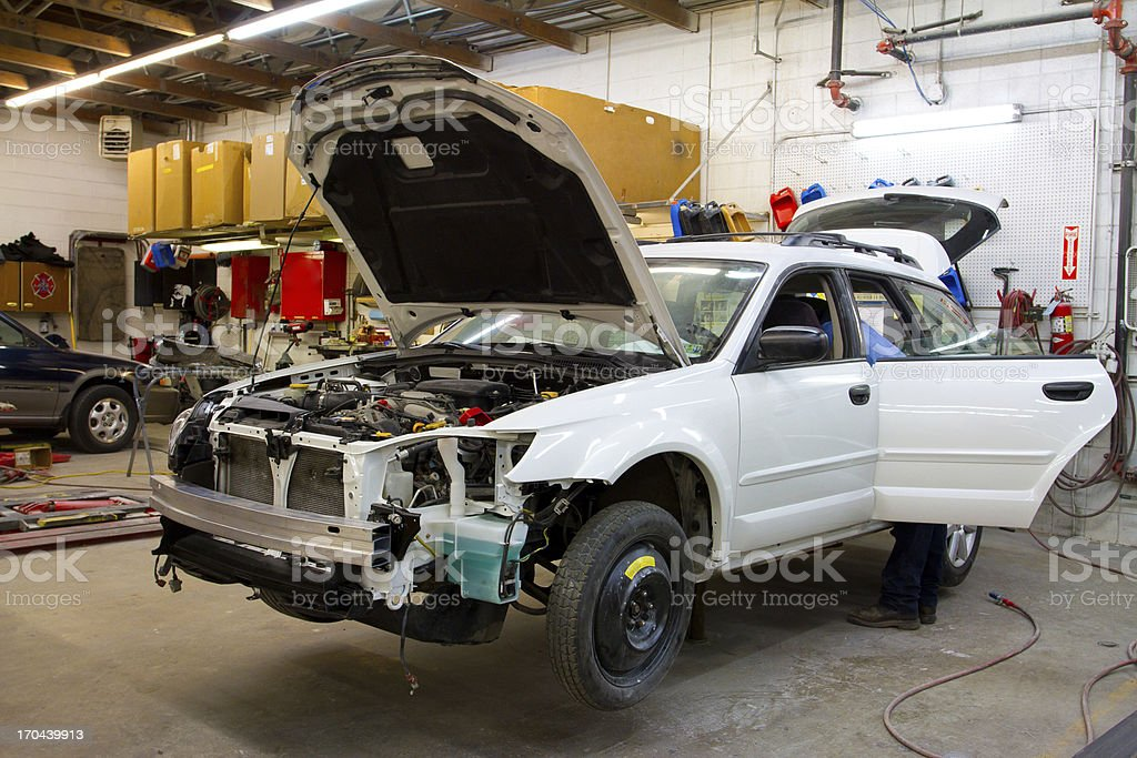 Vehicle in Auto Repair Shop stock photo