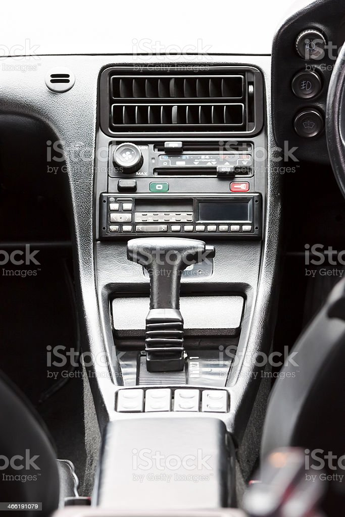 Vehicle instrument panel console with gearshift, full frame vertical...