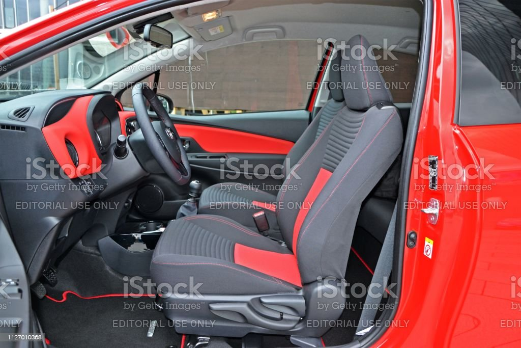 Vehicle interior of Toyota Yaris city car. Designing an ergonomics...