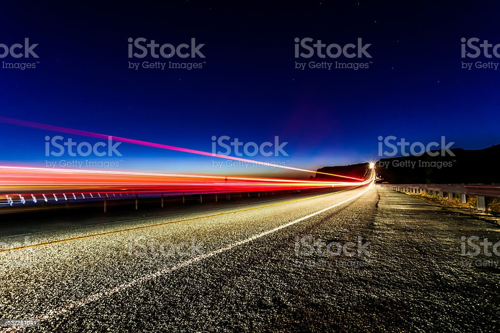 Vehicle Light Trails on Highway stock photo