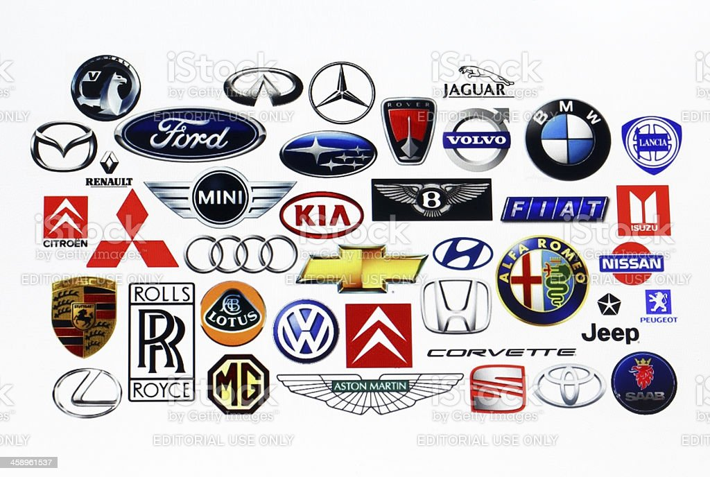 Vehicle manufacturer logos stock photo