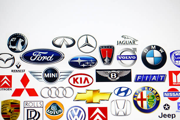 vehicle manufacturer logos - logo stock photos and pictures