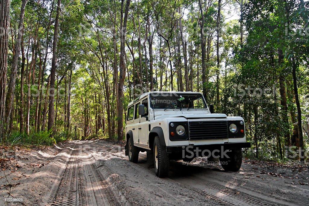 A 4WD vehicle on Fraser Island, Australia royalty-free stock photo