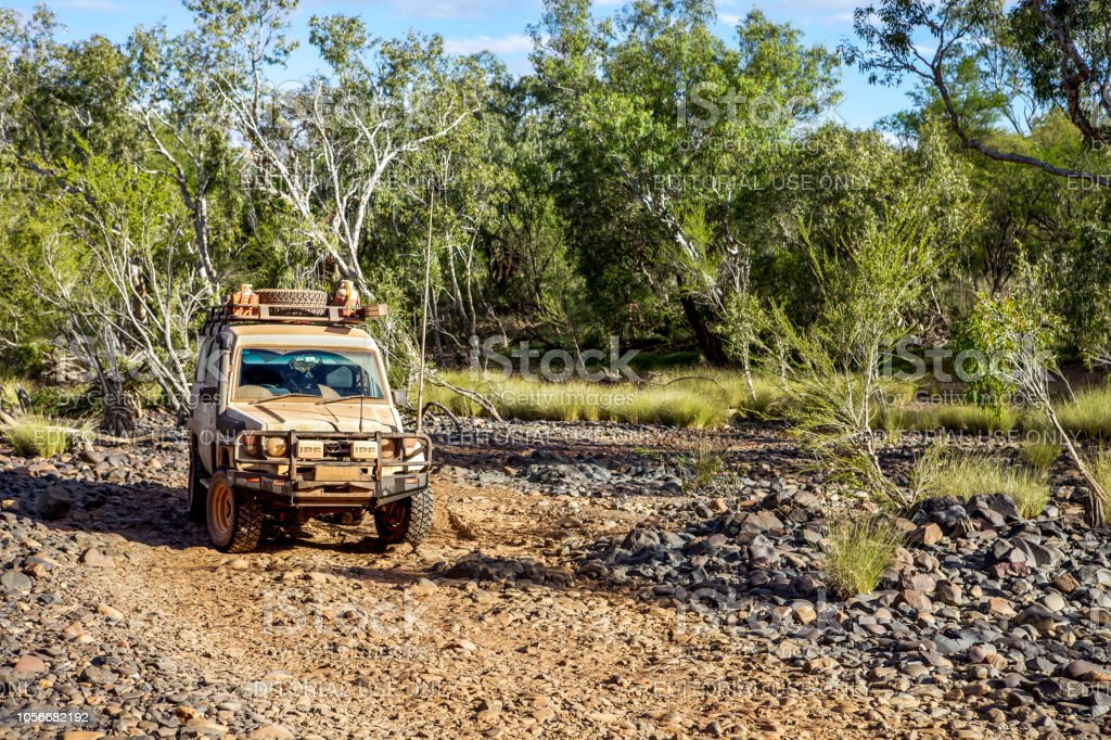 4WD vehicle on outback track in Australia. stock photo