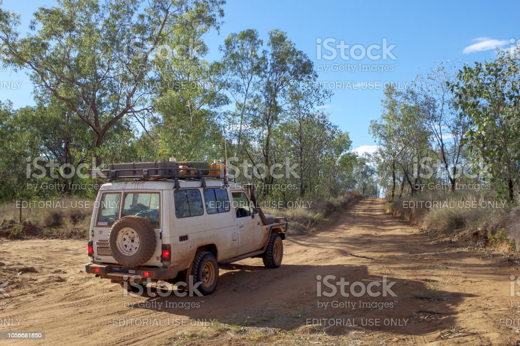 4WD vehicle on outback track in Western Australia. stock photo