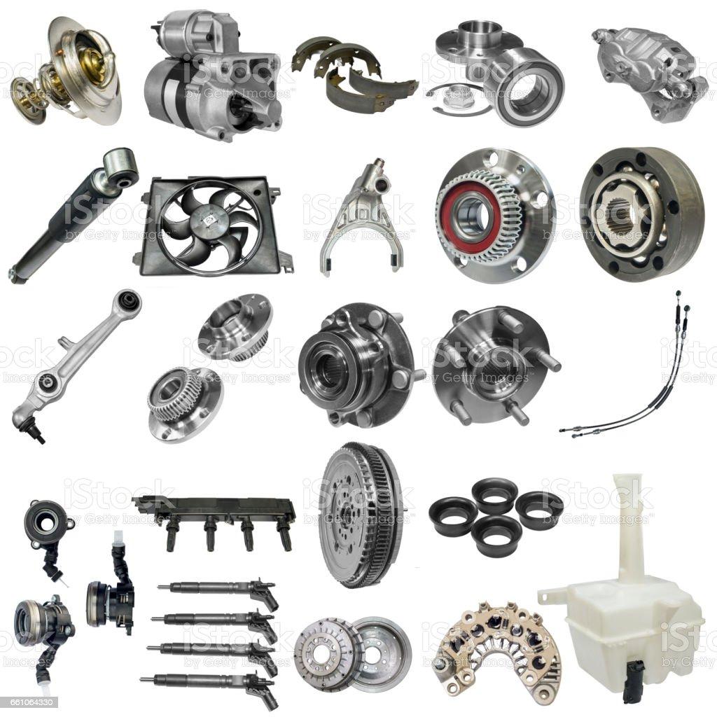 Vehicle parts on white background stock photo