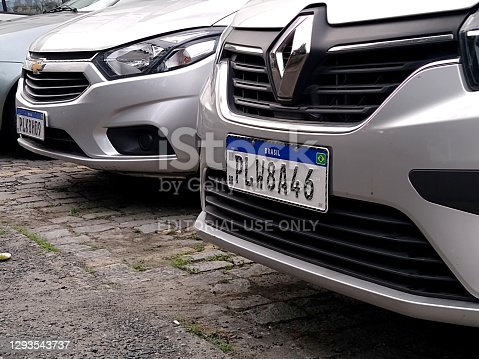 istock vehicle plate in the Mercosur standard 1293543737