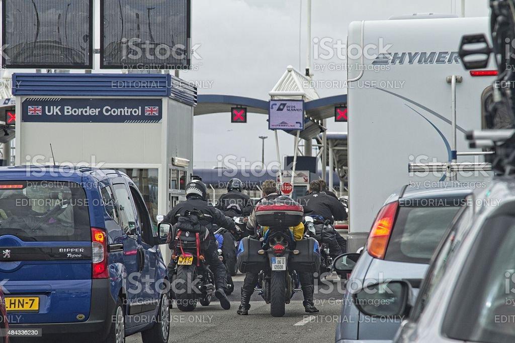 Vehicle Queue At Border Control In Calais Portfrance Stock