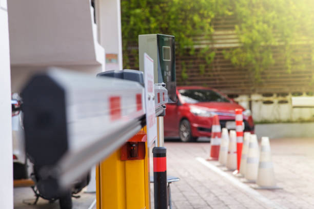 Vehicle security barrier gate on the car parking stock photo