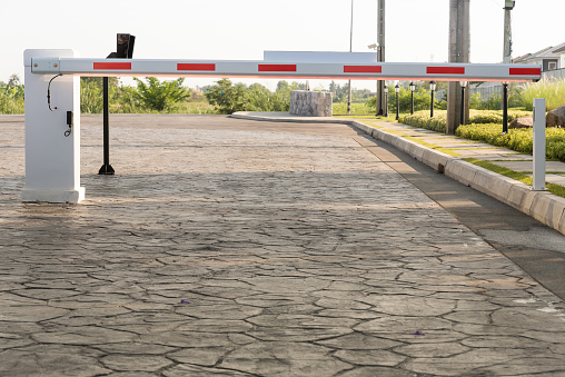 Vehicle security barrier on the car parking.
