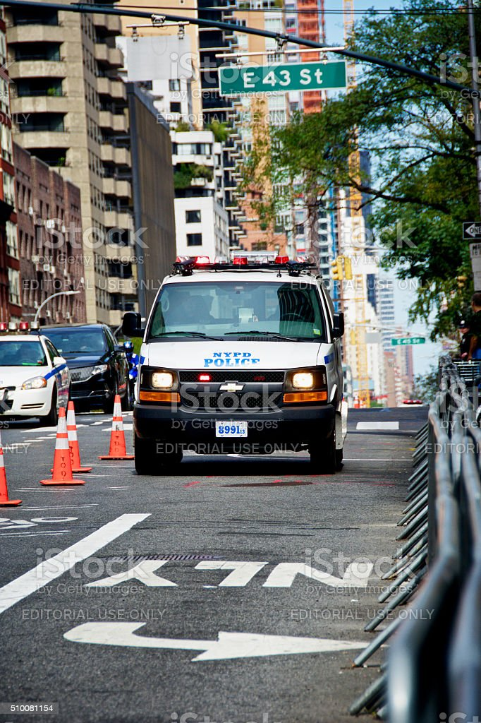 NYPD Vehicle Seen during United Nations Assembly events, Manhattan NYC stock photo