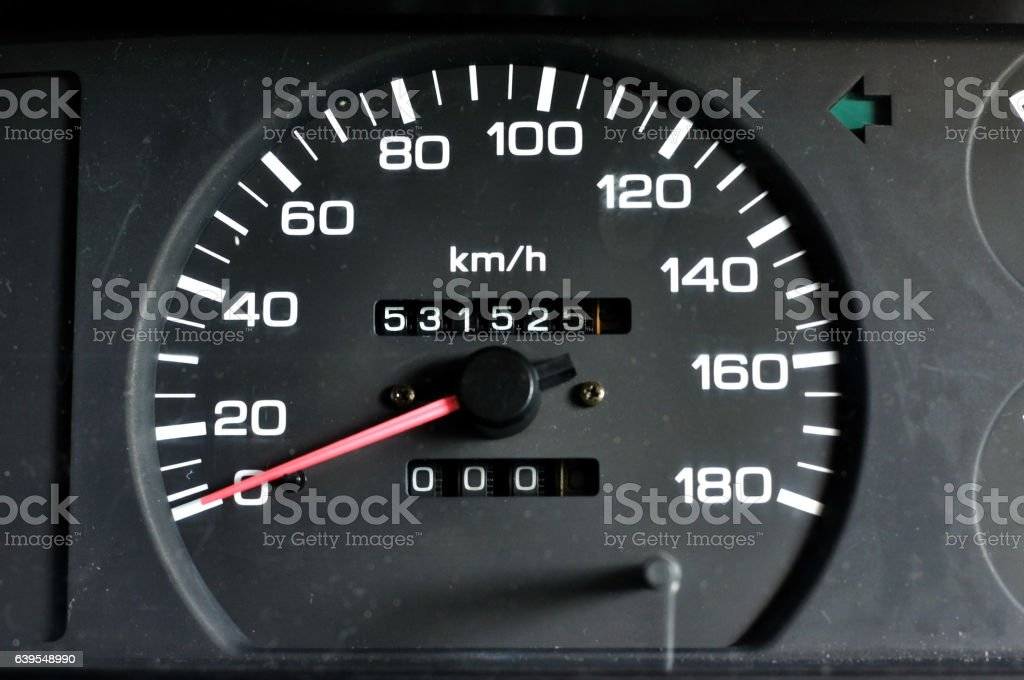 Vehicle speed meter of pick up, speed engine. stock photo