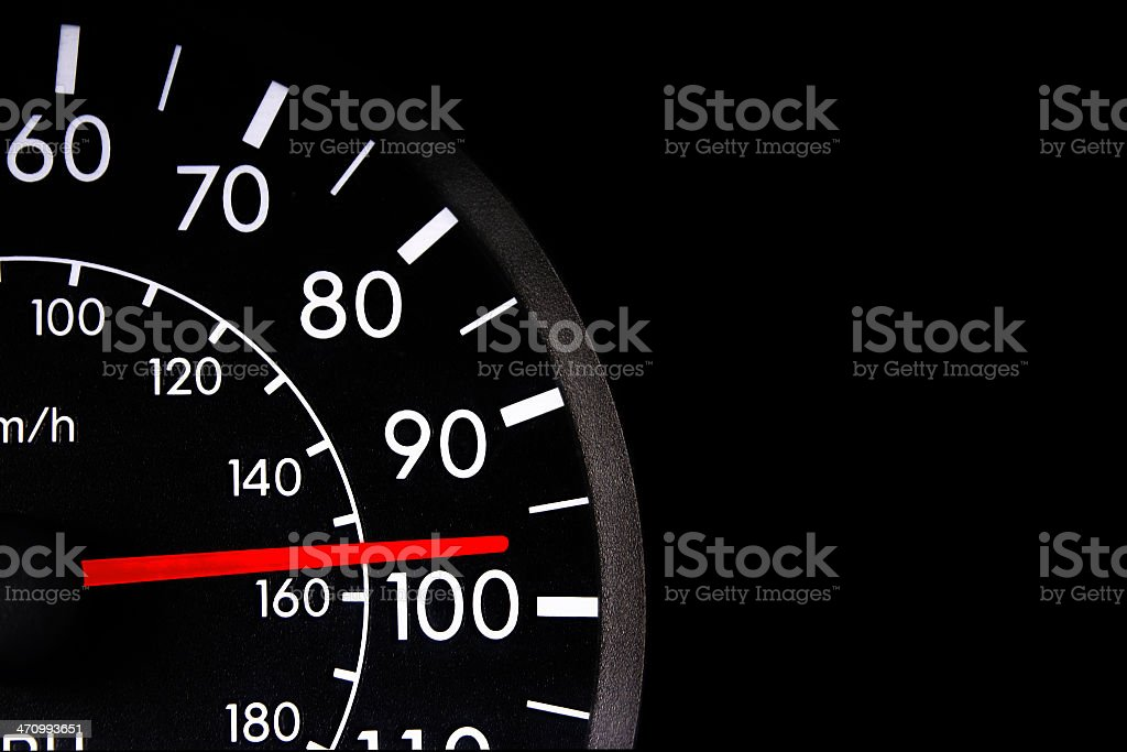 Vehicle speedometer currently at 97 miles per hour stock photo