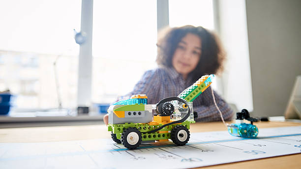 Vehicle toys made by Robotic Club member stock photo