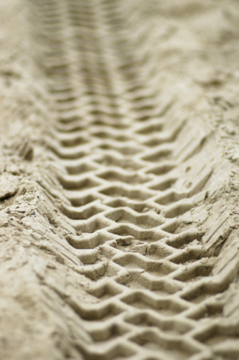 Vehicle tracks in sand