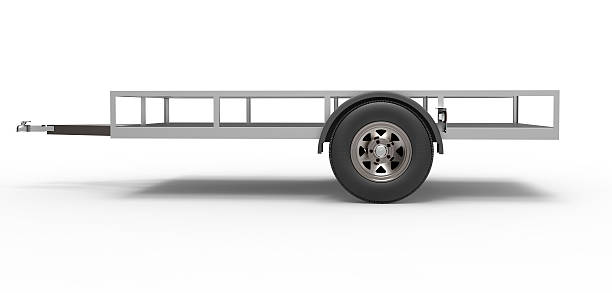 vehicle Trailer car trailer isolated on white vehicle trailer stock pictures, royalty-free photos & images