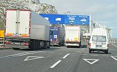 istock vehicles exiting the port at Dover UK 940512494