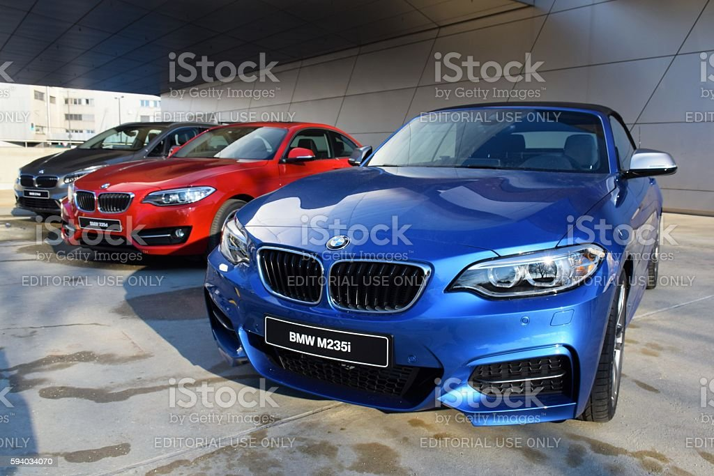 BMW vehicles in a row stock photo