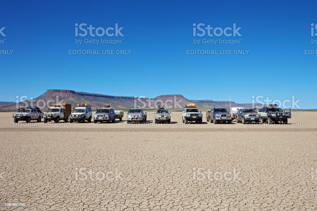 4WD vehicles in outback Western Australia. stock photo